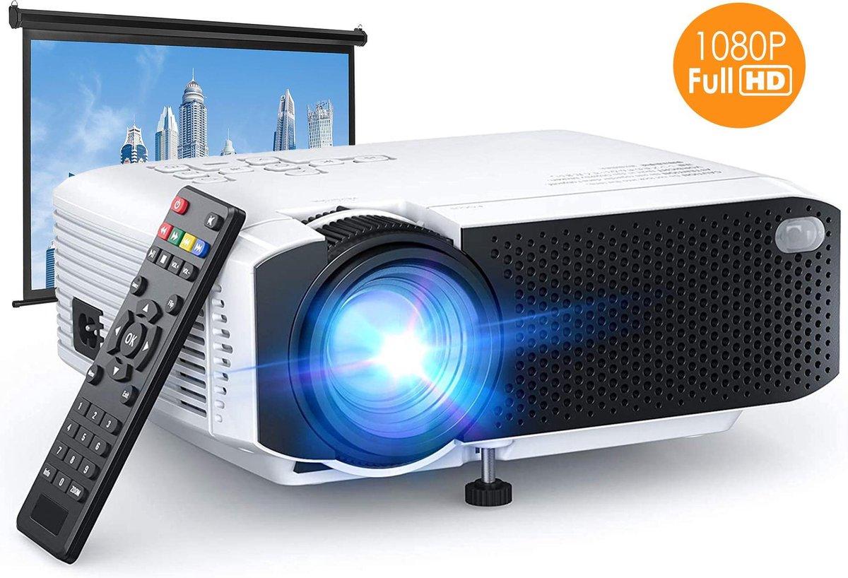 Mini Beamer 1080P Full HD met Surround sound Speakers - 4000 Lumen - Statief - Draagbare LED project