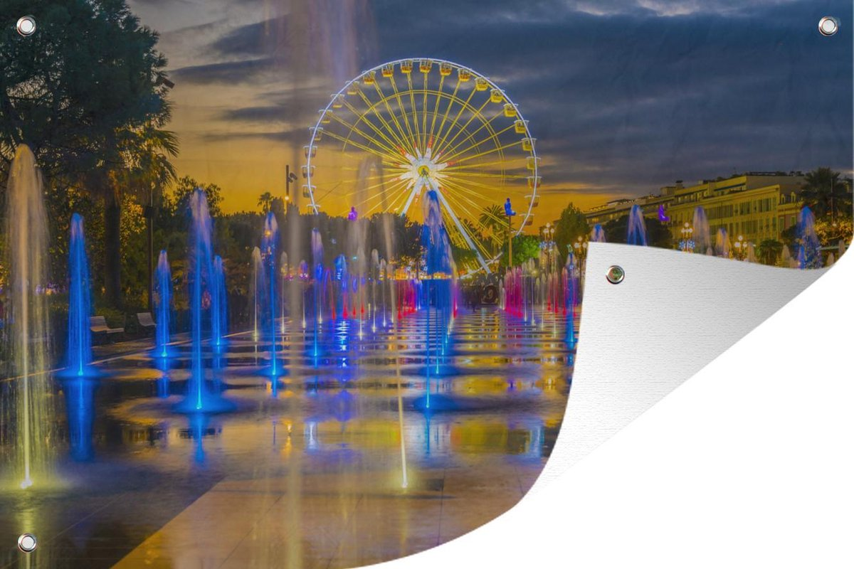 Tuinposter Fontein - Nice - Reuzenrad - 120x80 cm - Tuin