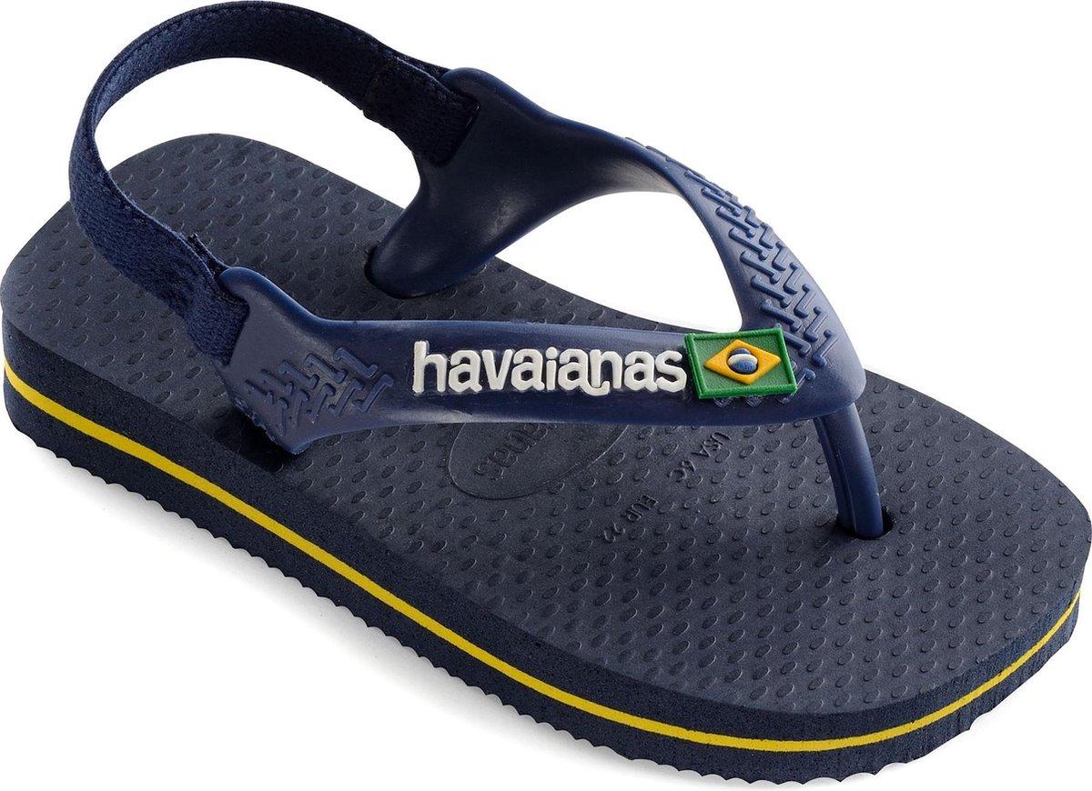Havaianas Baby Brasil Logo II Jongens Slippers - Navy Blue/Citrus Yellow - Maat 23/24