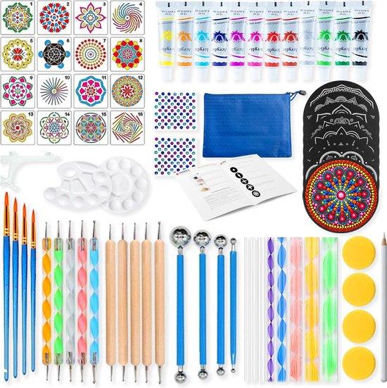 Afbeelding van Mandala Dotting Tools 75 delig incl. verf DELUXE Set Dot Painting met opbergtas en Tutorial speelgoed