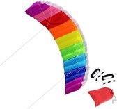 Duale Regenboog Matrasvlieger - Groot XXL - 30 Meter - Compleet pakket - Kinder vlieger meerdere kleuren - Parachute Kite - Vliegertouw Op Handvat Haspel