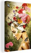 Canvas Schilderijen - Vrouw - Bloemen - Kleuren - 60x90 cm - Wanddecoratie