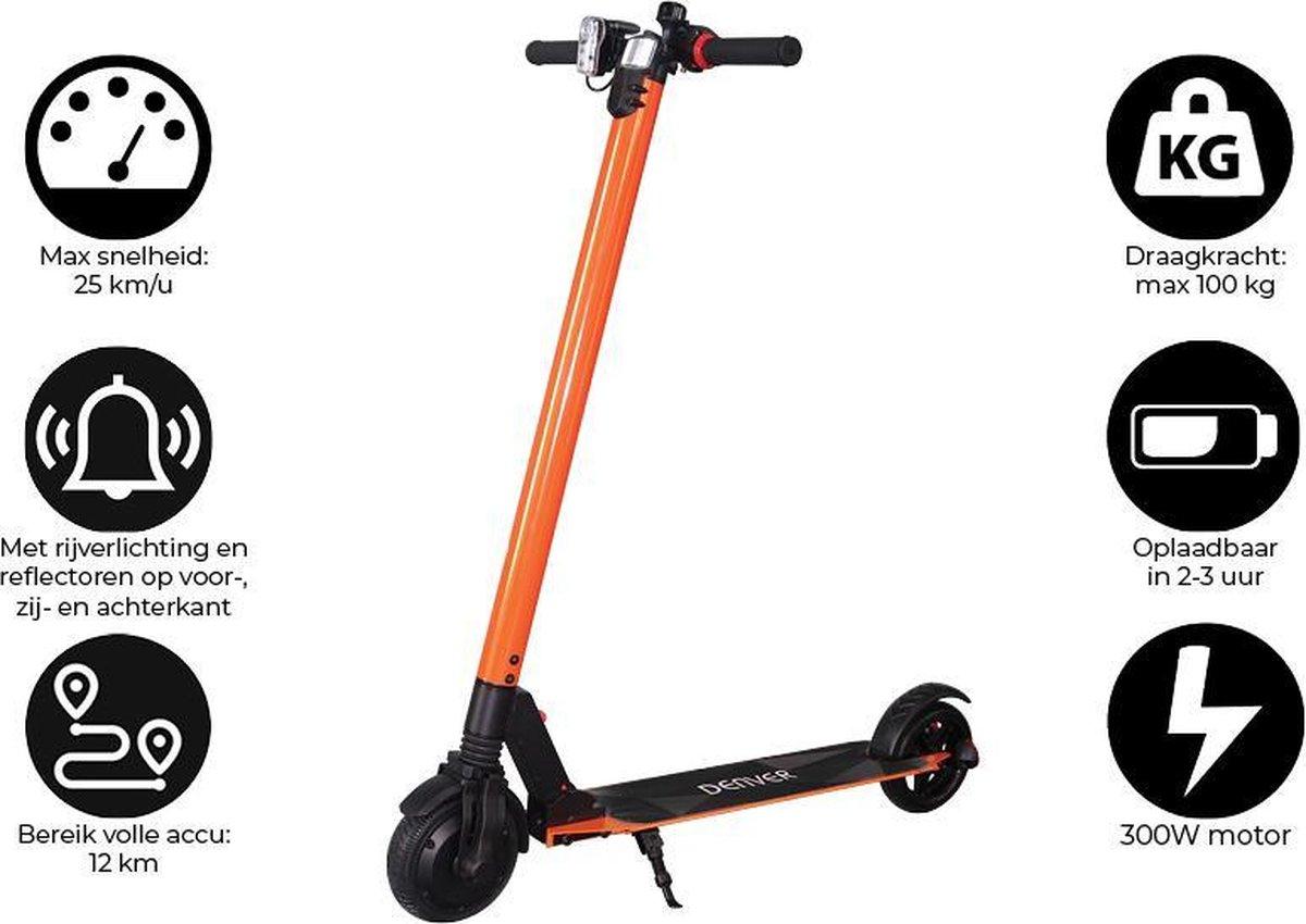 """Denver SEL-65220F - Elektrische step - 6.5"""" Banden - 25 km/u - E-Step met aluminium frame - Inklapbaar - Met LED verlichting voor & achter - E-Scooter - Oranje"""