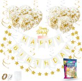 Fissaly® Verjaardag Slinger Wit & Goud met Papieren Confetti Ballonnen – Decoratie – Happy Birthday - Letterslinger