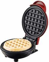 Happygoodies Mini Wafelijzer – Sandwich Ijzer – Wafels – kunststof en Metaal – 350 Watt – 10 cm - Rood