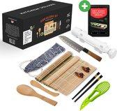 XXL Luxe Sushi Set met Sushi Kookboek - Sushi maker- Zelf Sushi Maken Kit - Pakket met Sushi Bazooka, Stokjes en Mat - 100% Eco-friendly