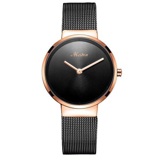Longbo – Meibin – Dames Horloge – Zwart/Rosé – Ø 31mm