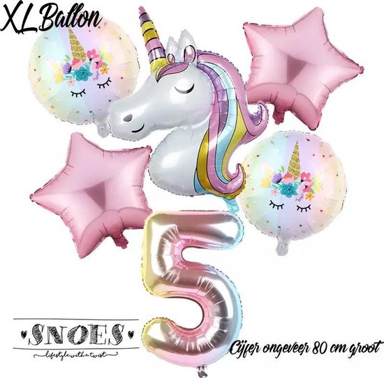 * Snoes * Unicorn * Eenhoorn  Licht Roze* Set van 6 Ballonnen XL * Unicorn Nummer 5 * Vijfde verjaardag * Hoera 5 Jaar * Birthday