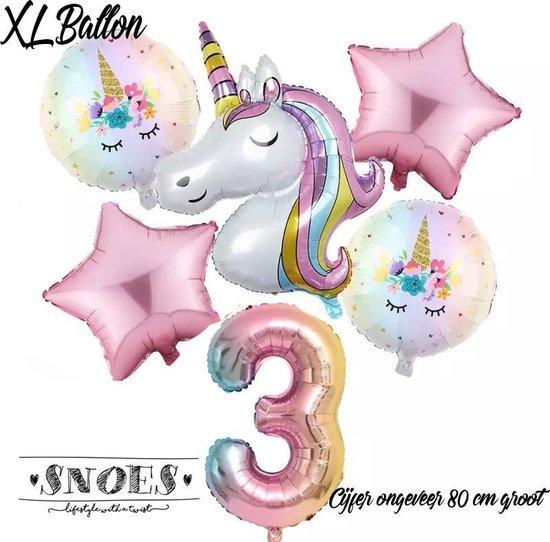 * Snoes * Unicorn * Eenhoorn  Licht Roze* Set van 6 Ballonnen XL * Unicorn Nummer 3 * Derde verjaardag * Hoera 3 Jaar * Birthday