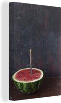 Halve watermeloen en mes op een duistere achtergrond Canvas 90x140 cm - Foto print op Canvas schilderij (Wanddecoratie woonkamer / slaapkamer)