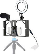 PULUZ 3 in 1 Vlogging Live Broadcast Smartphone Video Rig + Microfoon + 4.7 inch 12cm Ring LED Selfie Light Kits met Cold Shoe Statiefkop voor iPhone, Galaxy, Huawei, Xiaomi, HTC, LG, Google en andere smartphones (blauw)
