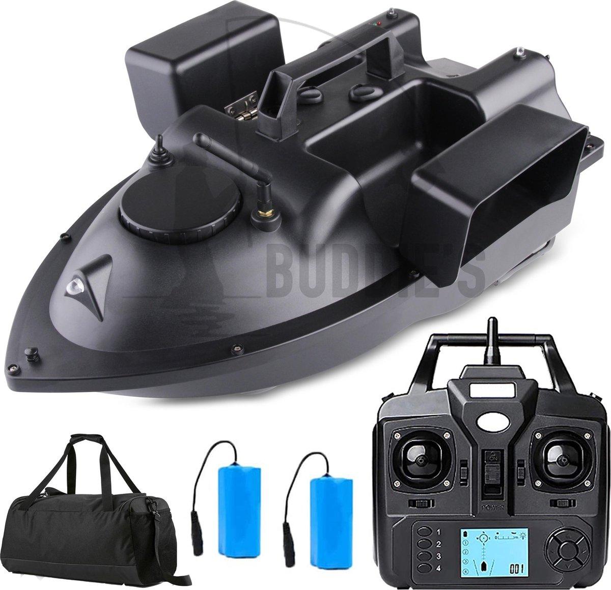 Buddie's  GPS Voerboot   Incl. Tas en 2 Batterijen - 500M bereik - 3 Voerbakken - Hook release - Afs