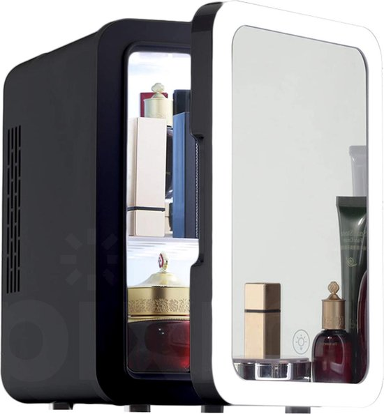Koelkast: PIXMY - Skincare Fridge - 4L Inhoud Zwart - Mini Koelkast - Met Spiegel En Ledverlichting - Skincare Koelkast - Make Up Koelkast - PISCF21LED-4LB, van het merk PIXMY Video & Photo
