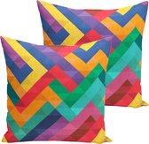 Kussenhoes 2 stuks - Gekleurde rechthoeken - 45x45 - kussensloop - Aan beide zijden bedrukt