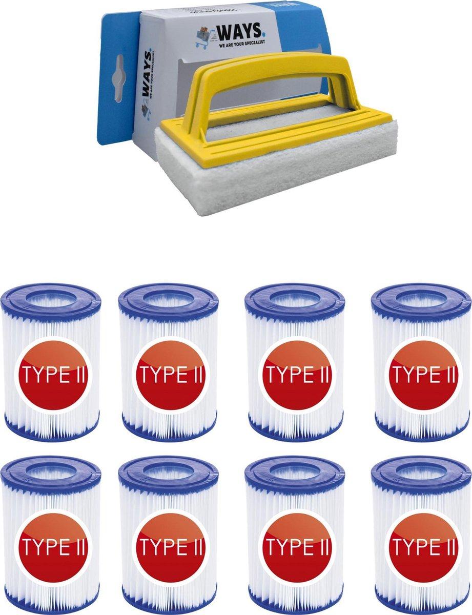 Bestway - Type II filters geschikt voor filterpomp 58383 - 8 stuks & WAYS scrubborstel