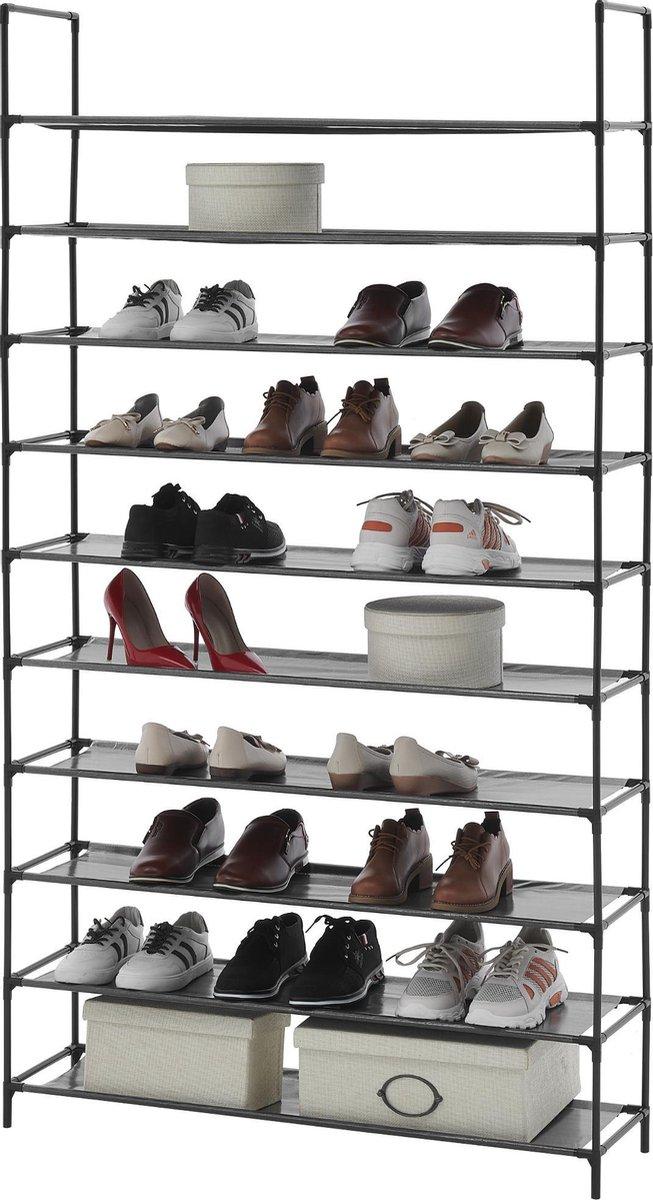 ACAZA Groot Schoenenrek, Rek voor 60 Paar Schoenen, 10 Schappen, 175cm Hoog, Zwart