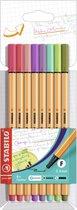 STABILO point 88 - Fineliner 0,4 mm - Nieuwe Kleuren - Etui Met 8 Kleuren