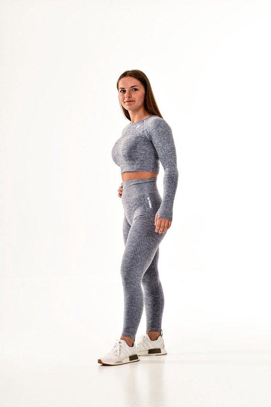 Vital sportoutfit / sportkleding set voor dames / fitnessoutfit legging + sport top (grijs/blauw)
