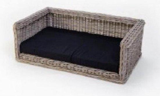 Topmast Rieten Hondenbank Hondensofa 92 x 67 cm + kussen Zwart polyesther