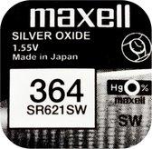 MAXELL 364 / SR621SW zilveroxide knoopcel horlogebatterij 2(twee) stuks
