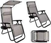 Ligstoel - Opbouwbare ligstoel met zonnescherm - Inklapbaar - Tuinstoel - Drankhouder inbegrepen
