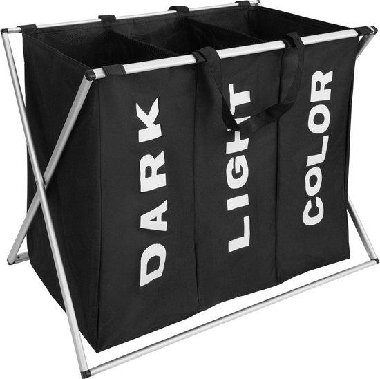 iBella Living Wassorteerder - Wasmand met 3 vakken - Opvouwbaar - 90L - Zwart