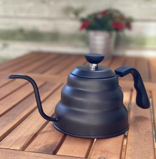 Design waterketel 1 liter - zwanenhals - mat zwart - slow coffee kettle