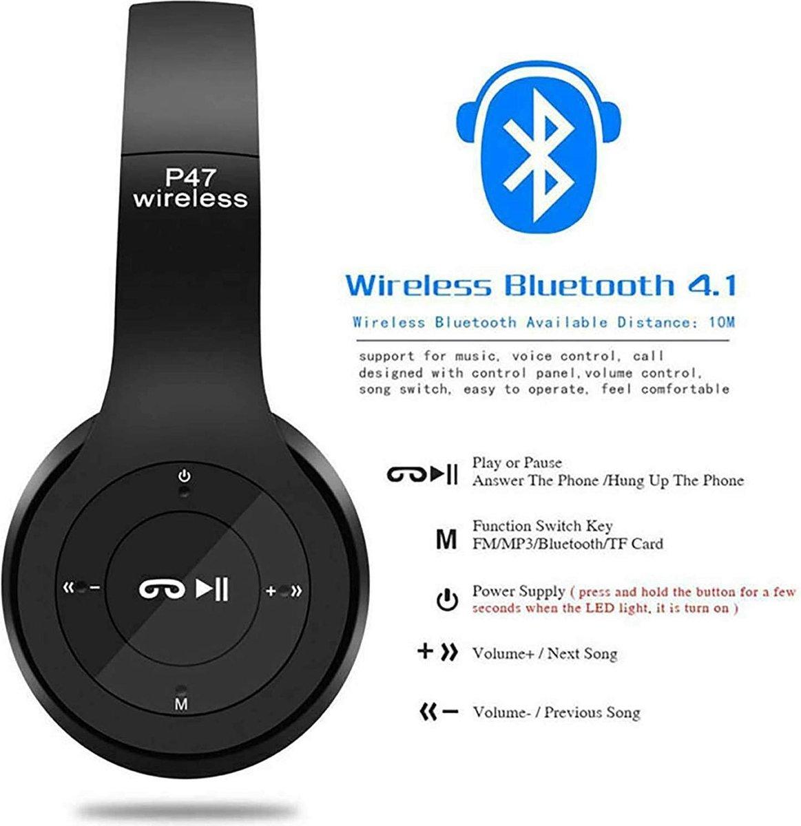 ZORIX®-P47 draadloze stereo hoofdtelefoon ,  4-in-1 multi-functionele stereo Bluetooth headset, 3,5 mm Jack ingang-Zwart