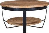 Zita Home Ronde salontafel large met onderblad mangohout 80cm