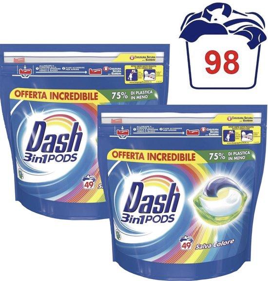 Dash Pods - Allin1 Pods - 3 in1 Pods - Wasmiddel - Stralende Kleuren - Voordeelverpakking 2 x 49 Capsules = 98 Wasbeurten - Wasmiddel Pods