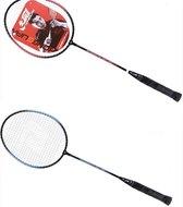 HONGGUAN Badmintonset - Badmintonset - Badminton - 2 rackets - Shuttles - Veren shuttles - Rood/Zwart en Blauw/Zwart