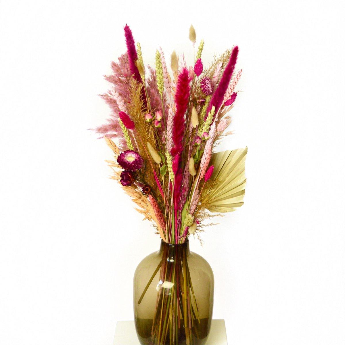 Droogbloemen - Hoogwaardig Droogboeket- 70 cm - Cadeau - Bloemen - Licht roze - Medium