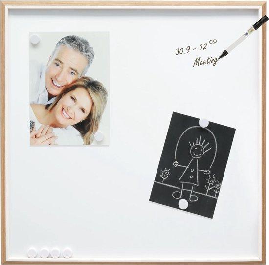 Afbeelding van Deknudt Frames - Wit magneetbord met rand in houtkleur en wit biesje