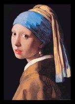Meisje van Vermeer-fotolijst-Luxe Poster-Art-kunst-Meisje met de Parel compleet met wissellijst 50x70cm.  aanbieding ingelijst
