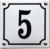 Emaille huisnummer wit/zwart nr. 5