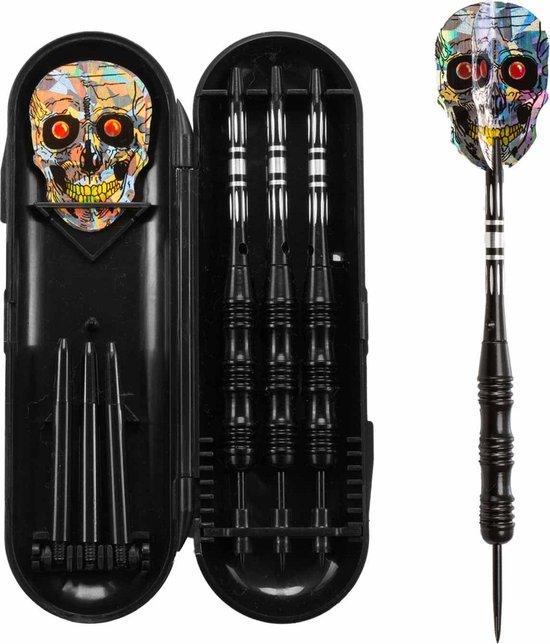 Afbeelding van het spel #DoYourDart - 3x Steeldarts   - »SilverSkull« - incl. case.  nikkelen barrel   Plastic Shafts, PET flights - Gewicht van de darts: 22g - zwart