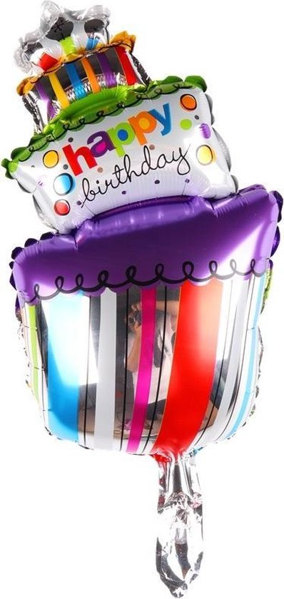 Folie helium ballon Taart Happy Birthday 53cm