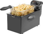 Bestron friteuse met koude zone, frituurpan met mand, 2000W, 3,5 L, kleur: zwart