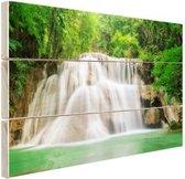 Huaymaekamin waterval Hout 80x60 cm - Foto print op Hout (Wanddecoratie)