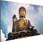 Boeddha beeld in open lucht Aluminium 90x60 cm - Foto print op Aluminium (metaal wanddecoratie)