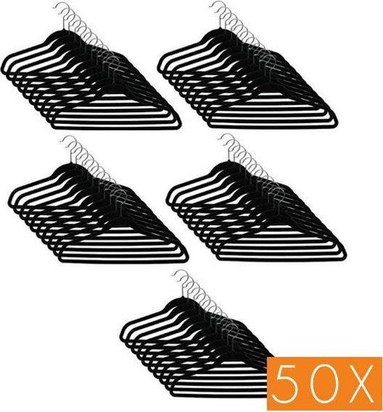 kwaliteit Kledinghangerset 50 stuks - Non slip kledinghangers - Fluweel zwart