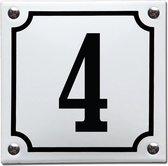 Emaille huisnummer wit/zwart nr. 4
