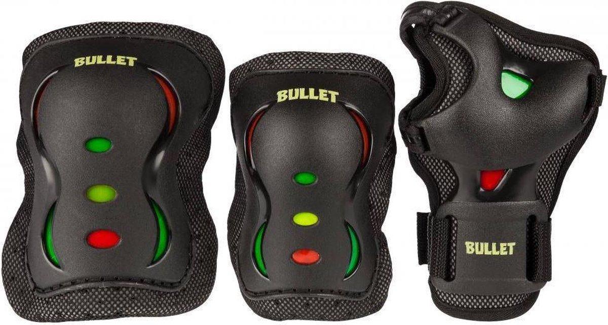 Bullet Triple Beschermingsset - Zwart met Wit - Maat: S (3 tot 6 jaar)