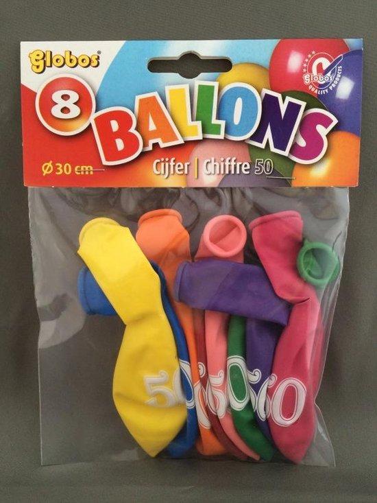50 jaar ballonnen 8 stuks