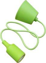 LED lamp DIY   pendel hanglamp - strijkijzer snoer   E27 siliconen fitting   appeltjes groen