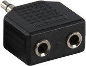Hoofdtelefoon Splitter, Verdeel Adapter plug van 1x 3,5 mm Jack naar 2x 3,5 mm Jack - Zwart