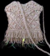 Glanzend Wit Tasje Pailletten en Kraaltjes, Schouder Tasje, Witte Tas, Handgemaakt Indonesië 13 x 15 cm