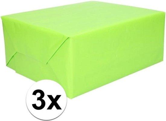 3x Kadopapier lime groen 200 x 70 cm op rol cadeaupapier