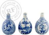 Rocaflor-Vaas-set-3-blauw-wit-Porselein-14cm