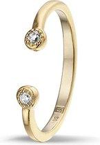 Montebello Ring Perok - Dames - Zilver Verguld - Zirkonia - Maat 58 - 18.5